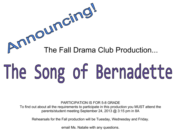 Song of Bernadette Announcement-3
